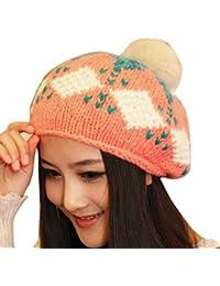 Smarstar Dame Hiver chaud tricot crochet Slouch Baggy Beret Bonnet Cap-Bonnet 1 pompons -Taille Unique-Rose