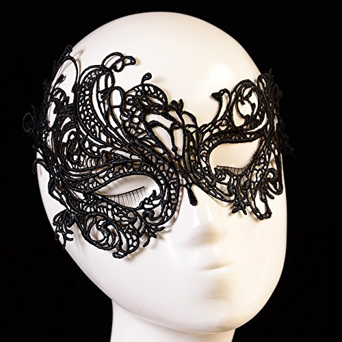 bal Venezianische Maske mit Spitze Federn schwarz und perle