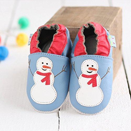 Scarpe per bimbo in pelle morbida - Pupazzo di neve - Suola in pelle  antiscivolo  a1ab5ec4fc4
