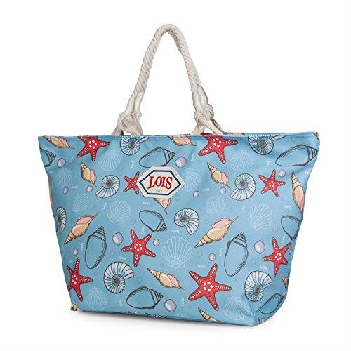 Lois - 09603 Bolso capazo con Asas de Lona Estampada. Cierre con Cremallera. Interior Forrado y Bolsillo Interior. para Playa o Compra, Color Azul