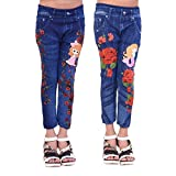 #2: Ziva Fashion Girls Poly Cotton Printed Blue Jeggings (Pack of 2)