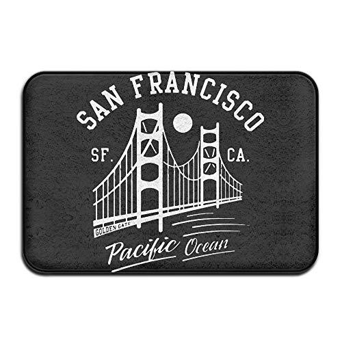 ZENGYAN Inside & Outside Doormat San Francisco Golden Gate Bridge Moon Design Pattern for Hallways and Foyers