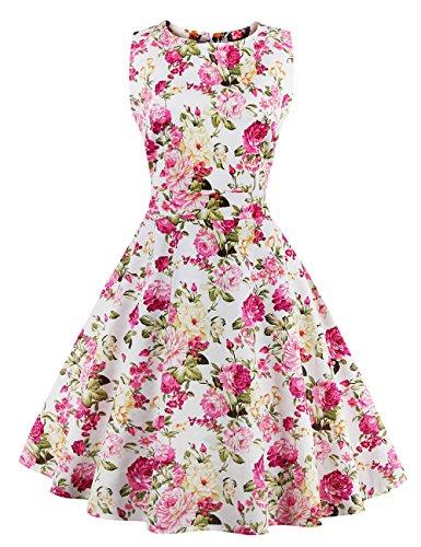 Pinkyee Damen A-Linie Kleid Rose