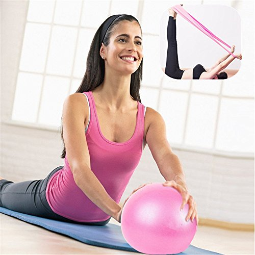 MISSDU Gymnastikball & Fitnessbänder, Stärkung der Bauchmuskulatur und partielle Massage einsetzbar für Fitness-Training, Pilates, Yoga, Gymnastik, Rücken,Herztrainer, Rosa Kombination