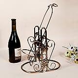 JIUJIA Schmiedeeisen Schaukel Dreiliter-Metall Wein Weingut Rot Wein 3L Weinflasche Display, Bronze, 29 * 17 * 43cm