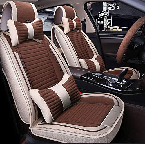 Auto Fünf-Sitz-All-Inclusive-Leinen-Kissen Vier Jahreszeiten Universal-Autositzbezug Car Fashion Comfort Supplies Car Mat,Brown -