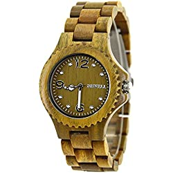 Bewell Hot Sale Valentine's Wooden Watch with Roman Number Fashion Wrist Watches with Wood Dial Plate