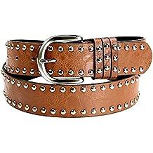 Inception Pro Infinite ® - cinturón de mujer hombre marrón con tachonan en cuero de imitación LT - 168