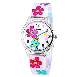 Zeiger Kinderuhr Quarzuhr Mädchen Uhr Armband Mädchenuhr Rosa Lernuhr Silikon Kinder ArmbanduhrKW009