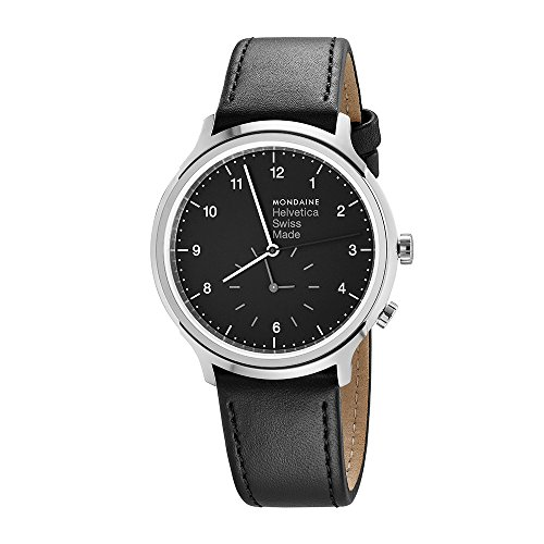 Mondaine Helvetica No1 Regular Women's/ Men's Watch, Black Dial witz 2 Time Zones, Black Leather Strap
