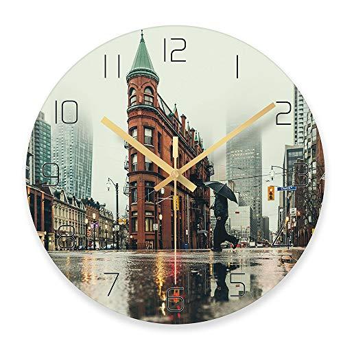 Aikai city logo orologi da parete statua della libertà city view tema orologio da parete modern city art horloge murale decorazioni classiche c 30 cm 30 cm