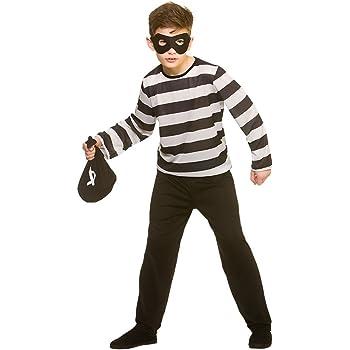 Kids Unisex Black/White Sneaky Robber Medium Fancy Dress Burglar Costume