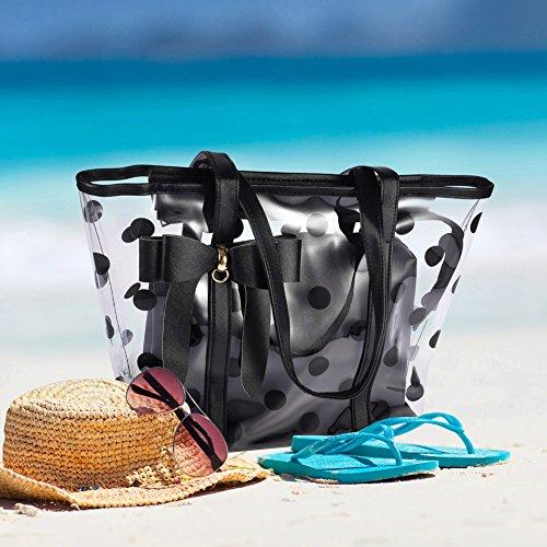 Vbiger Borse da Spiaggia Moda Tote bag impermeabile per Donna (Bianco con Nero) Bianco con Nero