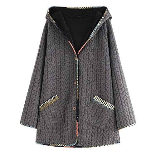 Xmiral Mantel Damen Einfarbig Winter Warm Kapuzenjacke Langarm Button Jacke Outwear Große Größe Taste Steppjacke Wintermäntel(Grau,L)