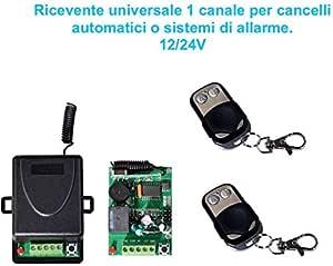 RICEVENTE RICEVITORE RADIO AUTOMAZIONE CANCELLI GARAGE SERRANDA 24V 12V 2 CANALI