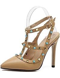 GLTER Femmes Plateforme Pumps Chaussures Peep Toe Noir Sandales à talons hauts Bouche étanche Femmes Chaussures Court Chaussures Pompes à bride de cheville Talon Cone Ladies Pumps , black , 38