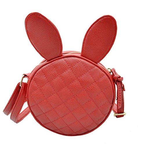 Vovotrade® Orecchie di coniglio donne ragazza mini borsa rotonda borsa di cuoio (Bianco) Rosso