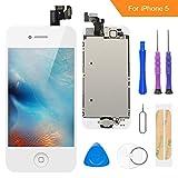 FLYLINKTECH Écran LCD Tactile de Remplacement pour iPhone 5 Blanc 4.0 Pouces,modèle Complet préassemblés (caméra Frontale/Bouton Home/capteur de proximité/écouteur) Kit d'outils de réparation