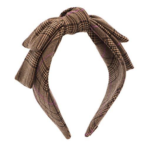 Weiyue Haarspange- Vintage Big Bow Kopfschmuck Breitkrempe Haarband Mit Woll Plaid Haarnadel DREI Farben Optional (Color : A) - Brown Plaid Bow