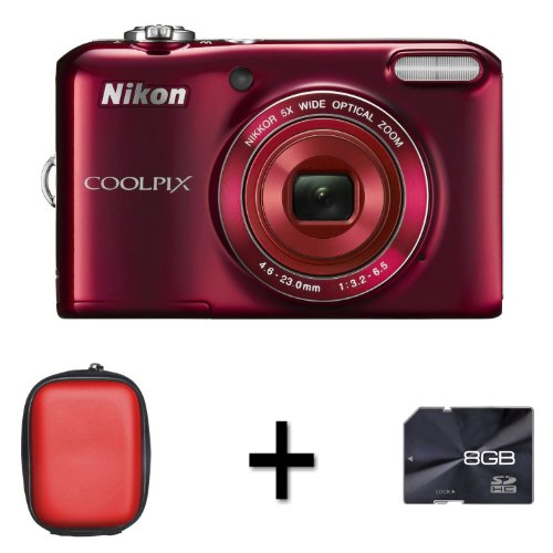 nikon-coolpix-l28-digital-camera-red-case-and-8gb-memory-card-201mp-5x-optical-zoom-3-inch-lcd