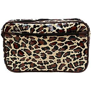 wasserdichte Kosmetiktasche Kulturtasche Waschtasche Utensilio Leopard aus Wachstuch, Handarbeit