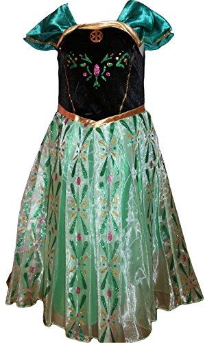 Die Eiskönigin Anna Kostüm Kleid Grün Prinzessin Karneval Größe 116 (Anna Kostüm Grün)