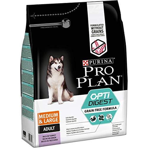 Pro Plan Dog Dog GRAIN FREE Medium & Large Adult Sensitive Digestion OPTIDIGEST reich an Truthahn Trockenfutter Beutel, 2500 g