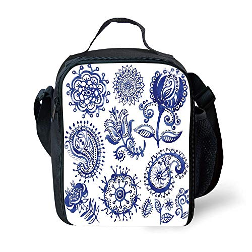 School Supplies Blue and White, Old Fashioned Artful Motifs in Watercolor Style Paisley Mandala Floral,Navy Blue White for Girls or Boys Washable
