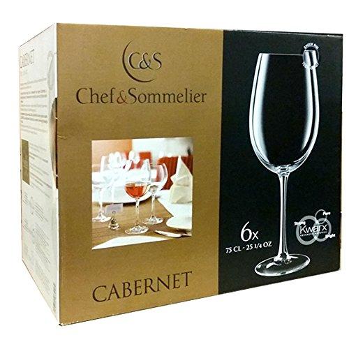 Lot de 6 verres à pied 75 cl pour dégustation vin rouge blanc - Chef et Sommelier ligne Cabernet