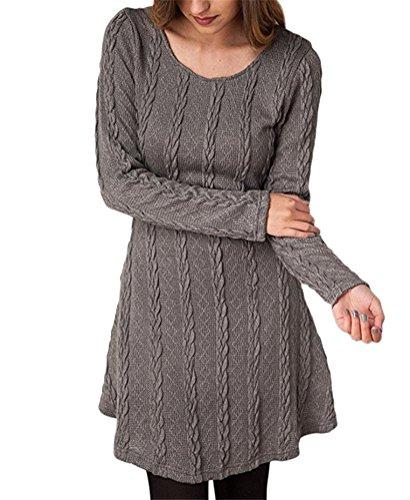 Brinny Femme Sweater Tricot Lâce Manche longue Haut Pull Mini-robe Cardigan Sweats 7 Couleur 5 Taille: S-2XL Gris