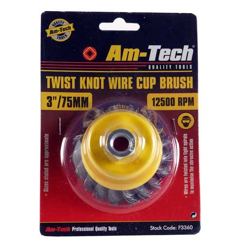 Knot Wire Cup Brush (Am-Tech 3 Zoll, 80 mm Twist Knot Wire Cup Brush, F3360)
