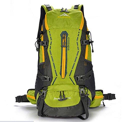 LQABW Professional Sports Alpinismo Outdoor Maschio E Femmina Viaggi Generale Escursione Impermeabile Zaino Borsa,Red Green