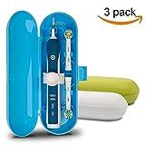 Custodia da viaggio in plastica per spazzolino elettrico Oral-B Serie Pro, confezione da 3 (bianco, blu, verde)