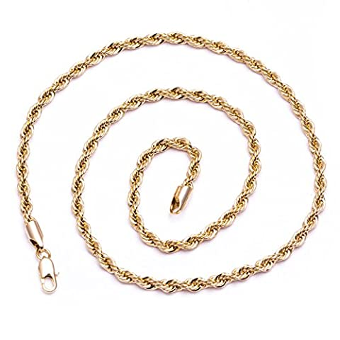 Luxury Rope Chain Necklace - 18K Gold plated - 4mm, 20