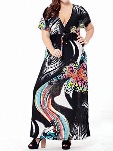 Damen Sommerkleid kurze Ärmel Maxikleid Strandkleid Lange Kleider Partykleid Floral Abendkleid Schwarz