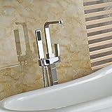 Galvanik Retro Wasserhahn einzigen Griff Bad Badewanne Armatur frei stehende quadratische Wanne Mixer mit Handbrause Feldspritze Messing verchromt, Multi Tap