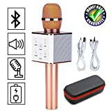 Magisches Karaoke Drahtloses Mikrofon Mit Bluetooth Lautsprecher Unterstützung iOS Apple iPhone iPad Android Smartphone PC Für Home Entertainment Party Bühne KTV Singen(Q7 Roségold)