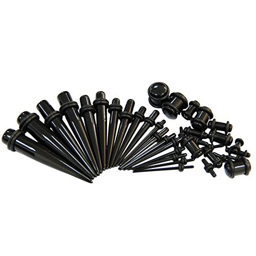 18-pieces-ear-tapers-full-kit-acrylic-earring-stretcher-tunnel-black