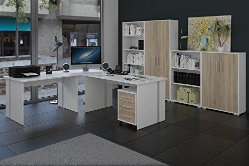 Büromöbel, Arbeitszimmer 8-teilig in Weiss mit Fronten in Sonoma-Eiche