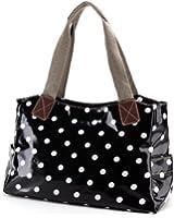 Anladia All Style Oilcloth Shoulder Bag Tote Shopper Day Bag Faux Leather Bottom Canvas Strap Women Handbag