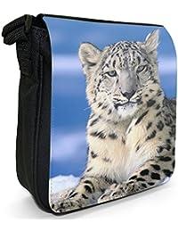 Snow Leopard Sitting In Snow Small Black Canvas Shoulder Bag / Handbag