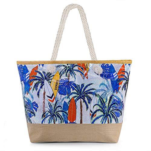Joeyer Trendige Canvas Strandtasche mit Reißverschluss, Große Reise Einkaufstasche Handtasche für Urlaub (10)