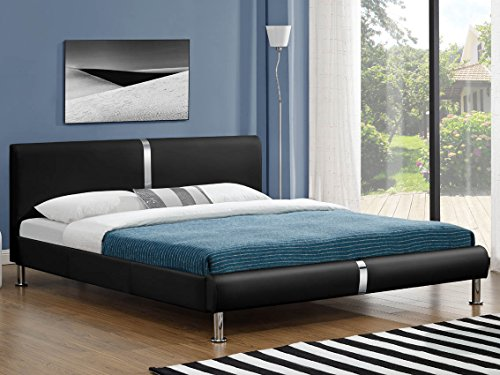SVITA Doppelbett Polsterbett Bettgestell Bett Lattenrost Kunstleder (180x200cm, Schwarz)