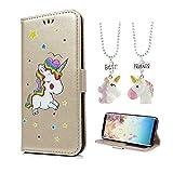 Universecase Coque iPhone X, Licorne Or PU Etui en Cuir Portefeuille a Rabat Flip Case Magnétique+ 2 Colliers pour Meilleures amies