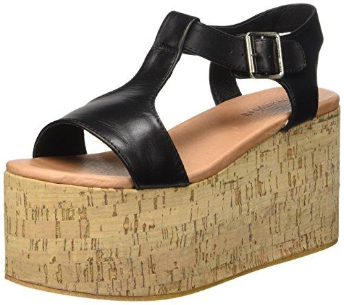 Jeffrey Campbell Weekend Leather, Chaussures à Talons à Bout Ouvert Femme Noir