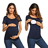 UNibelle Umstands-/Still-Shirt Kurzarm Mutterschaft T-Shirt mit Stillfunktion