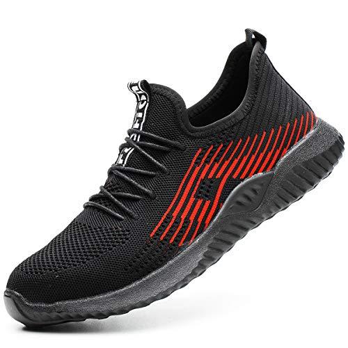 Zapatillas de Seguridad Hombres Hembra, Zapatos de Trabajo con Punta de Acero Ultra Liviano...