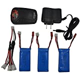 Blomiky 3pcs 7.4v 1200mah Battery and Charger for YIZHAN X6 IDrone I8HG I8H JJRC...