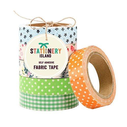 Nastro adesivo decorativo di tessuto per scrapbooking – confezione da 6 – fantasie miste – floreale, quadretti & pois - garanzia di 60 giorni, soddisfatto o rimborsato