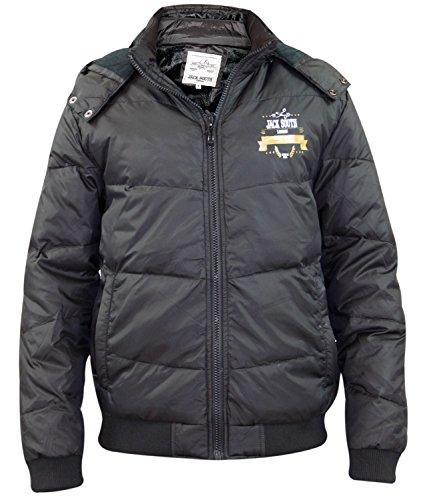 Nuovo da uomo Jack South vero piumino imbottito trapuntato foderato giacca invernale con cappuccio e cerniera Cappotto Black L